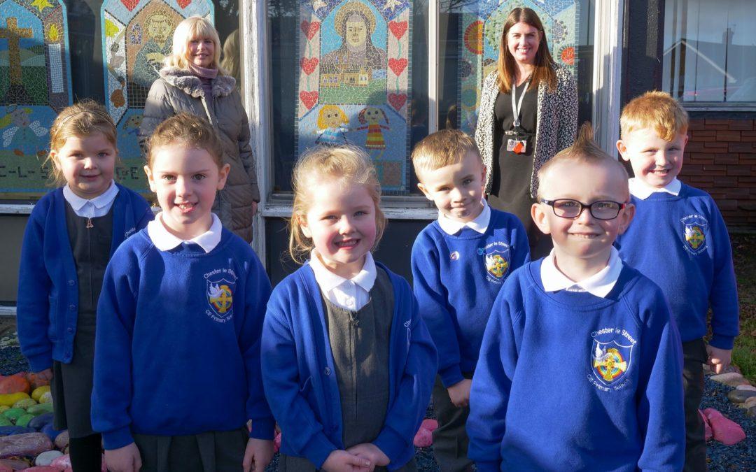 Pupils in front of school